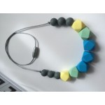 Grey, yellow, mint and blue silicone necklace