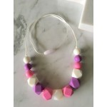 White, purple and pink silicone necklace